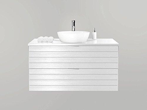Waschtischunterschrank 100 cm breit holzedekor-weiß holzdekor-antharzit Waschbeckenunterschrank Unterschrank Badmöbel-Set hängend Sieper Khalix (Holzdekor Weiß)