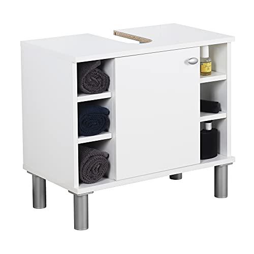 RICOO WM100-WM-W Mueble baño bajo Lavabo 60x54x32cm Armario Auxiliar pequeño Estantería Debajo lavamanos Toallero Almacenaje Madera Blanca