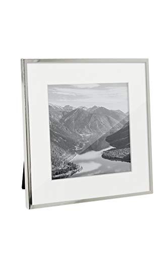 Afuly - Marco de fotos de 12,7 x 12,7 o 17,8 x 17,8 cm, color plateado sin alfombrilla blanca, marco moderno de cristal, para montar en la pared, mesa o como regalo de boda
