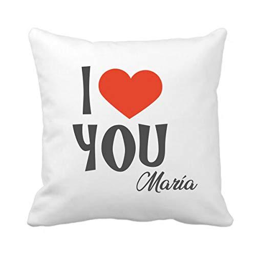 Kembilove Cojín Personalizado para Parejas – Cojín I Love You Naranja – Cojín con Nombre Personalizado para Parejas y Enamorados – Cojín para San Valentín
