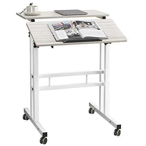 SogesHome Altura Ajustable Mesa móvil de pie Mesa para computadora Escritorio para computadora portátil Estación de Trabajo, Estudio, Dibujo, Escritorio de artesanía, Escritura, Pintura,SH-ZS-101-MP