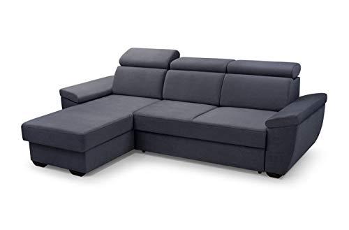 MOEBLO Sofa mit Schlaffunktion und Bettkasten, Couch für Wohnzimmer, Schlafsofa Federkern Sofagarnitur Polstersofa Wohnlandschaft mit Bettfunktion - Alano (Anthrazit, Ecksofa Links)