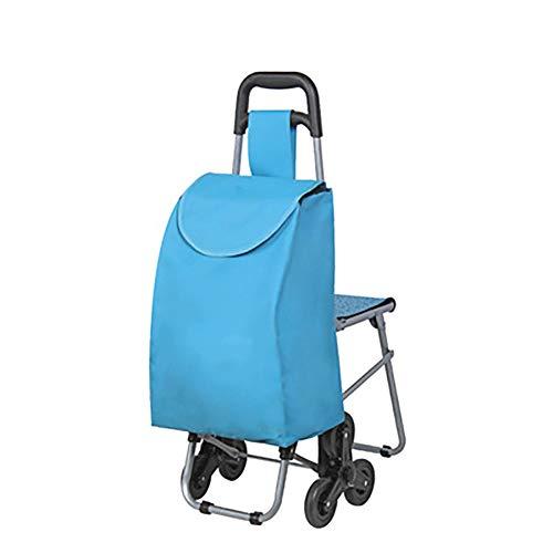 GWCUU Treppensteigen Einkaufswagen, altmodische Einkaufswagen, Fahrer kaufen Lebensmittel vierrädrigen Einkaufswagen, Edelstahl + Oxford Tuch, Unisex