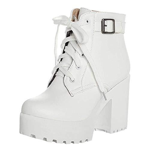 High Heels Stiefeletten Plateau Blockabsatz Ankle Boots mit Schnürung(Weiß,39)