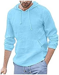 Wanxiaoyyyinnscx Long Sleeve Shirts, Men's long-sleeved hooded T-shirt top casual loose thin cotton and linen hooded pocke...