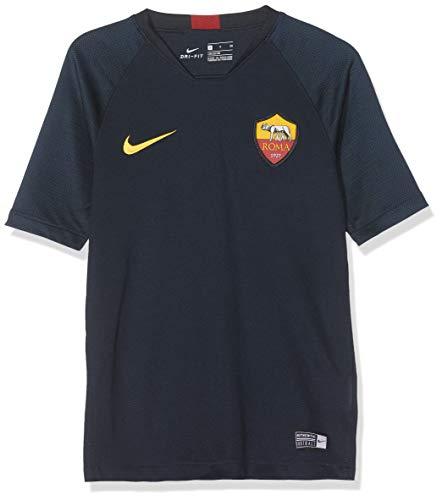 Nike Breathe A.S. Roma Strike Maglietta, Unisex Bambini, Dark Obsidian/University Gold, L