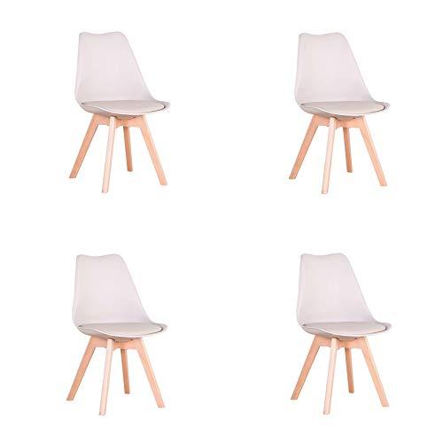 EGOONM Juego de 4 sillas, Silla de Comedor de Estilo nórdico, Apto para Comedor, salón y Cocina (Beige)