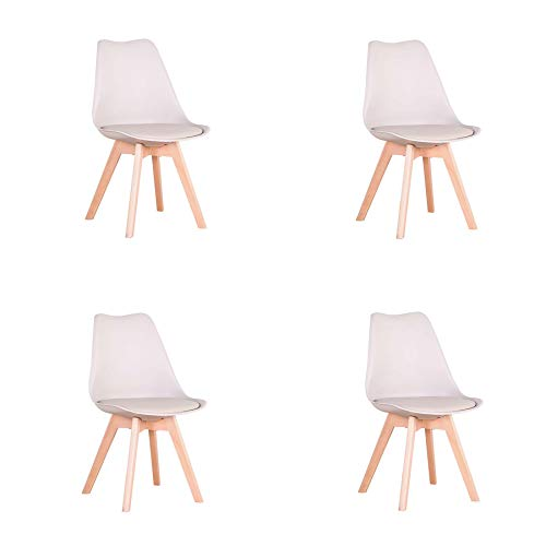 Conjunto de 4 sillas, Silla de Comedor, Silla de tulipán de Estilo nórdico, Adecuada para Sala de Estar, Comedor (Caqui)