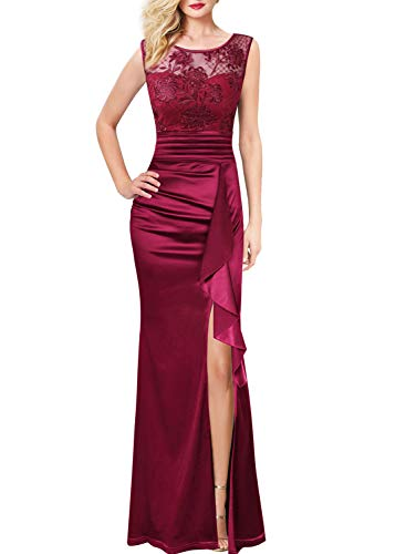 VFSHOW Womens Dark Red Floral Embroidered Ruched Ruffle High Split Formal Evening Gown Prom Wedding Party Maxi Long Dress 3709 DRED L
