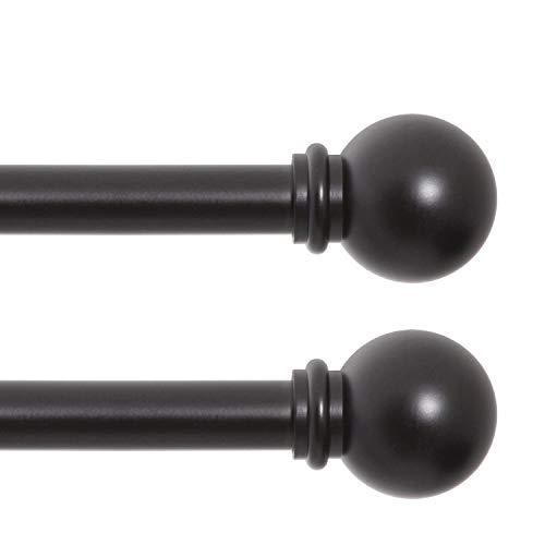 "Kenney Chelsea Standard Decorative Window Curtain Rod, 48-86"", Black, 2 Pack"