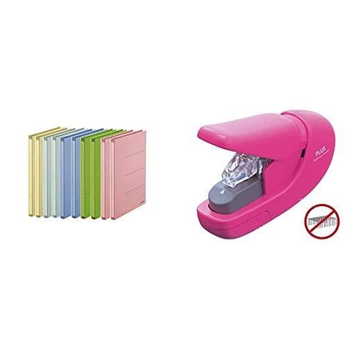 PLUS Japan, Zero Max Platzsparordner farbig sortiert, 10er Pack (1 x 10 Ordner) & Klammerloser Hefter in Pink, Heftleistung 5 Blatt, 1er Pack (1 x 1 Hefter)