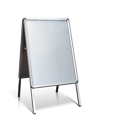 Kundenstopper Standard Aluminium Format: DIN A1 59,4 x 84,1 cm/Plakatständer für den Innenbereich/Werbeaufsteller aus Alu mit Plexiglas Abdeckung von stempel-fabrik