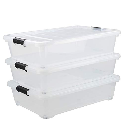 Asking 40 Quart Plastic Wheels Under Bed Storage Box Latch Bin with Lid Clear 3-Pack