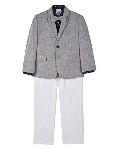 Calvin Klein Boys' Toddler 4-Piece Formal Suit Set, Dark Grey Duo, 4T