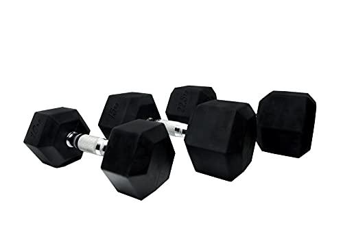 Mancuerna hexagonal de 30 kg. Material profesional de caucho virgen. No daña las superficies.
