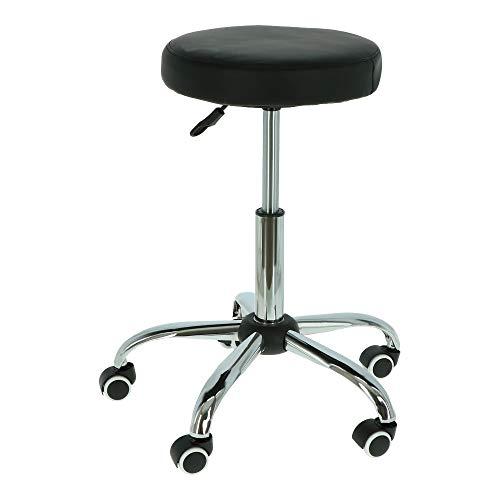 Goets - Drehhocker auf Rollen - Höhenverstellbar - Mit Kunstleder bezogener Sitz - Belastbarkeit bis 150 kg - Schwarz