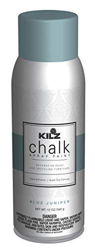 KILZ L540746 Chalk Spray Paint for Upcycling Furniture, 12 oz. Aerosol, Blue Juniper, 12 Ounce