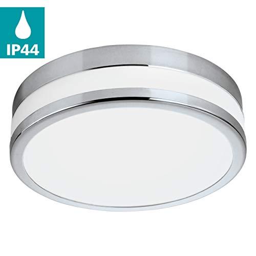 EGLO Badezimmer-Deckenlampe LED Parlermo, 1 flammige Deckenleuchte, Material: Stahl, Glas: satiniert und weiß lackiert, Farbe: chrom, Ø: 29,5 cm, IP44