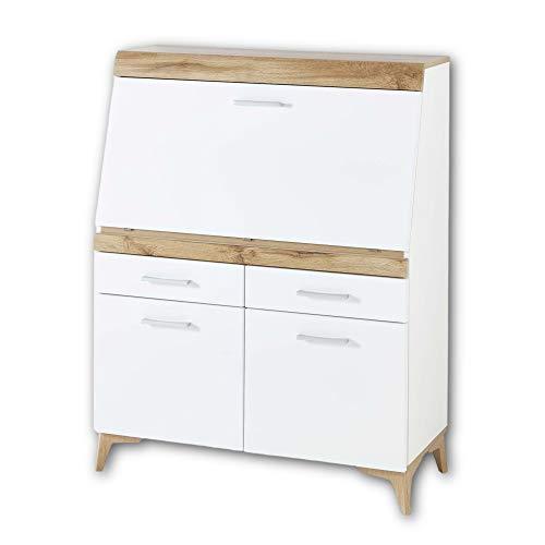 SECRET Sekretär Schreibtisch Kommode in Weiß matt, Eiche Altholz Optik - platzsparender Computertisch Schrank mit Schubladen - 98 x 124 x 42 cm (B/H/T)