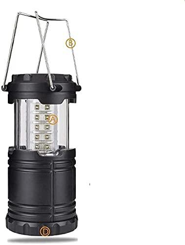 Farol de camping con 30 ledes, impermeable, funciona con 3 pilas AA, luz de emergencia, portátil, color negro