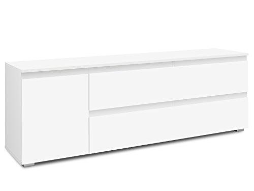 möbelando TV-Lowboard RackUnterschrank Fernsehtisch HiFi Element Schrank Ravenna I Weiß matt