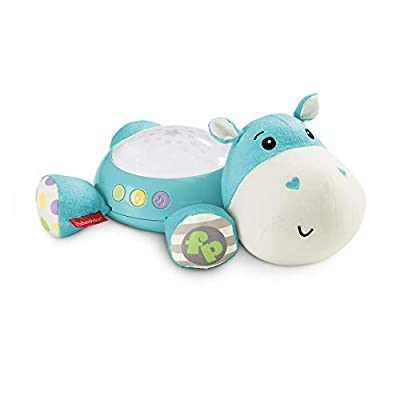 Fisher-Price CGN86 Hippo Plush Projection Soother, New-Born Soft Light Projector White Noise Toy by Mattel