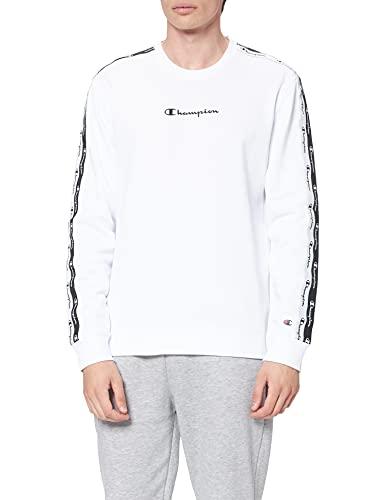 Champion American Tape Crewneck Sweater, Blanc, S Homme