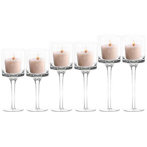 BELLE VOUS 6-er Pack Teelichthalter Glas (3 Größen) – Transparente Hohe Kerzenständer Glas, Kerzenhalter Glas, Kerzenständer Gross – Ideal für Hochzeit, Wohnaccessoires, Tischdeko, Geschenk