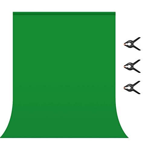 Greenscreen,Fotostudio Hintergrund für Fotografie, Faltbare Screen, 1.5 x 2.1m Foto Hintergrund Screen Stoff mit 4 Clips für Hintergrundstand,Fotografie, Video und Fernsehen Fotostudio