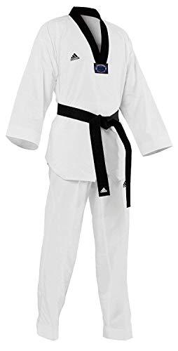 adidas Dobok de taekwondo, black-v, 1/150cm, Blanco