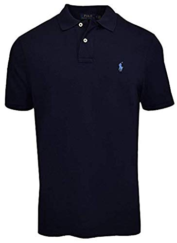 Polo Ralph Lauren Mens Classic Fit Mesh Polo Shirt - L - Navy (Light Blue Pony)