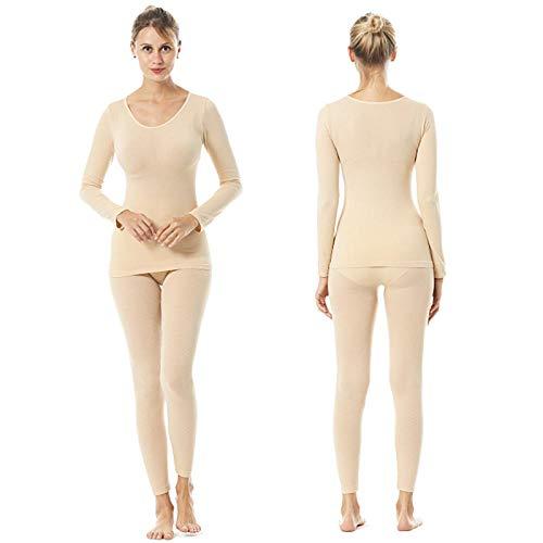 Damen-Thermounterwäsche, ultradünn, nahtlos, warm, 37 Grad Thermostat-Unterwäsche, Großhandel, Damen-Heizfaser, Unterwäsche-Set, lange Hose, Thermounterwäsche-Set hautfarben