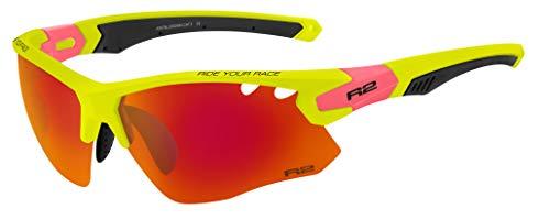 R&R R2 Multi-Sportbrille Crown | Radbrille | Sonnenbrille | Fahrradbrille | Laufbrille | Crossbrille für Damen und Herren (Neongelb, Wechselgläser)