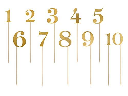 PartyDeco Tischnummern Papier – Sitzplan Tischzahlen Hochzeit Ziffern Zahlen Deko – Gold, 11 Stück