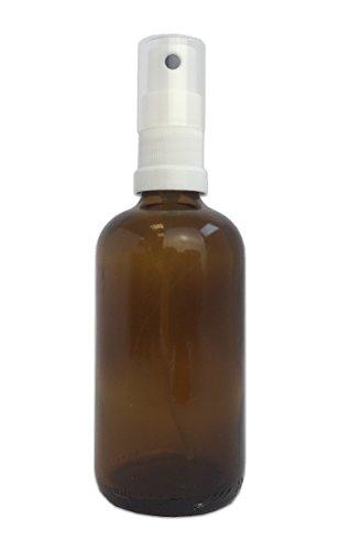 Glasflasche mit Zerstäuber 100ml - Medizinflasche aus Braunglas mit Sprühkopf DIN18 - BPA frei