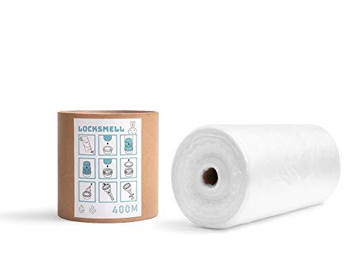 LOCKSMELL Nachfüllfolie für Windeleimer 400m kompatibel mit Tommee Tippee Sangenic, Angelcare & Litter Locker + ein Nachfüllrohr