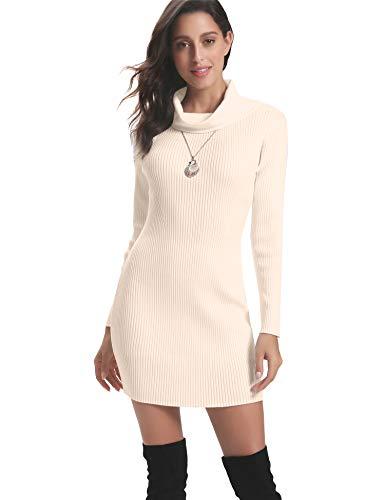 Abollria Vestido a Punto Cuello Alto Suéter Elegante para Mujer Jerséy Clásico para Otoño Invierno Cuello Alto