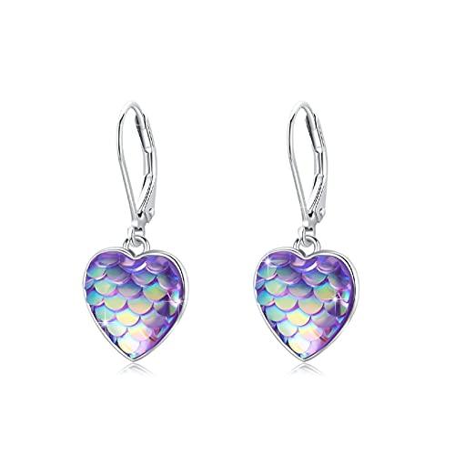 Pendientes de aro de plata de ley 925, diseño de sirena, color lila
