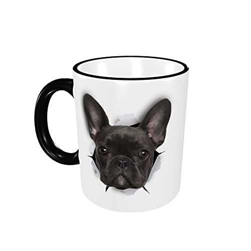 Black French Bulldog Cute Novelty Ceramic Coffee Mugs Cups Funny Gifts for Women Girls Mom Travel Mug Tea Cap Insulated with Handle 12 Oz for Home Office