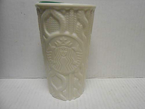 Starbucks Double Wall Traveler, White Cable Knit Sweater 10 oz.