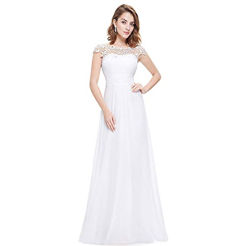 DHF Femenino Lacey Escote Abierto Atrás Vestidos de Noche Busto Ruchado (Color : White, Size : 4XL)