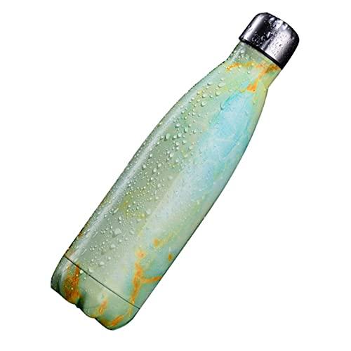 Taza de vacío aislada de acero inoxidable, diseño de rayas de mármol, taza de bebidas frías aisladas, taza de acero inoxidable 304 (500 ml)