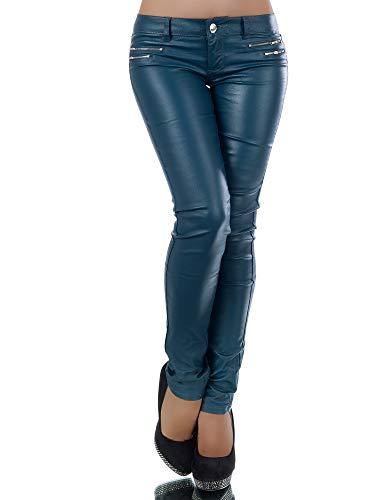 Damen Jeans Hose Hüfthose Damenjeans Hüftjeans Röhrenjeans Leder-Optik L521, Farbe: Dunkelgrün, Größe: 36 (S)