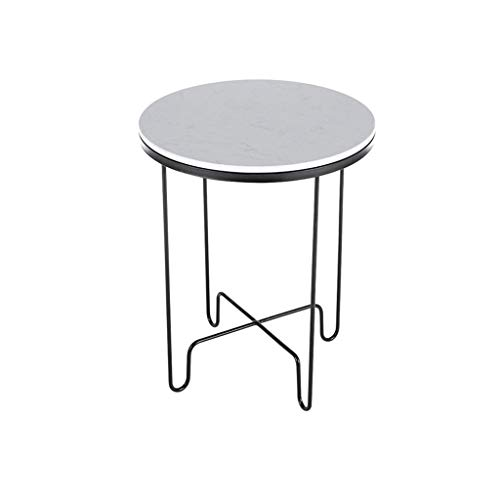SZQ-Bijzettafels Metal Round Table, Marble Pattern Waterproof Coffee Table Office Sales Department Store Decorative Flower Stand Salontafels (Color : B, Size : 46 * 61CM)