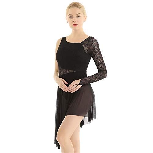 Erwachsene Einzel-Lange Hülsen-Spitze Gymnastik Trikot for Frauen Eiskunstlauf Kleid Contemporary Ballet Lyrical Tanz Kostüme (Color : Black, Size : XS)