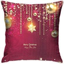 EstherMi19 Fundas de cojín de Navidad retro con diseño de bolas doradas y estrellas de 18 x 18 decoraciones navideñas