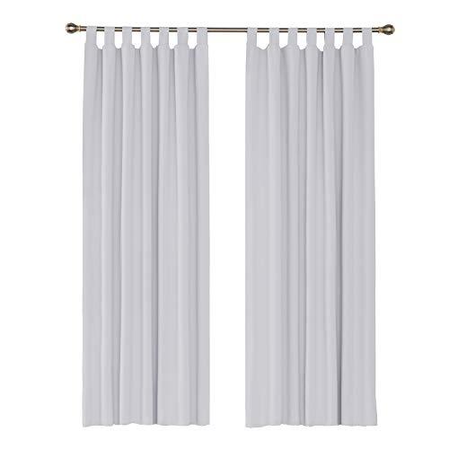 Amazon Brand – Umi Cortinas de Salon Modernas para Ventana Dormitorio Termicas Aislantes con Trabillas 2 Piezas 140 x 260 cm Gris Blanco