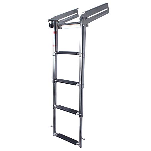4 Step Telescoping Boat Ladder Heavy Duty Retractable Dock Ladders with Press-Type Spring Latch