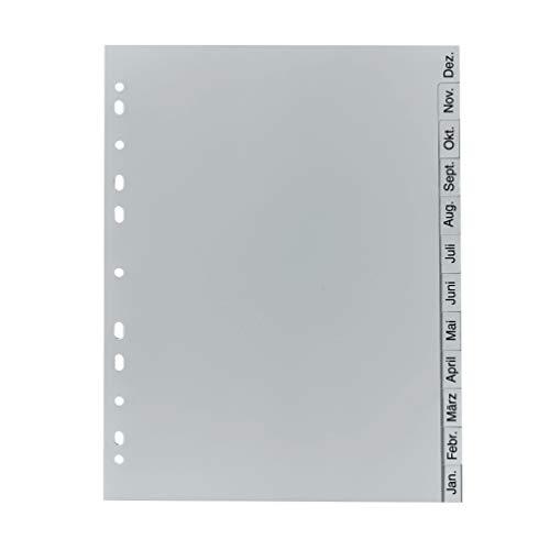 Original Falken PP Kunststoff-RegisterFür DIN A4 22,5 x 29,7 cm volle Höhe Druck Dez.-Jan. 12 Blatt grau Ringbuch Ordner Plastikregister ideal für Büro und Schule