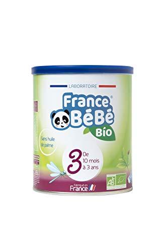FRANCE BéBé BIO - Lait infantile de croissance bébé 3ème âge en poudre - Lait fabriqué en France - 13 Vitamines 12 Minéraux - 400g